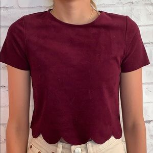 Micro Suede Scalloped Hem Top